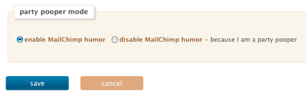 MailChimp Party Pooper mode