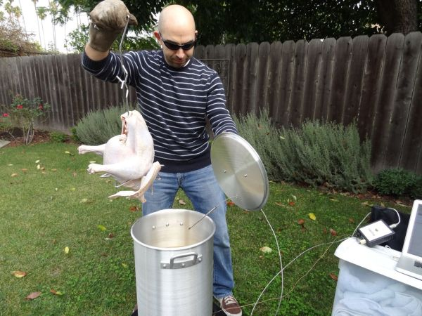 Gently placing the turkey in the oil
