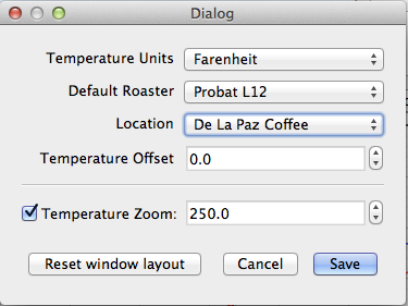 Temperature zoom/roast profile translation settings in RoastLogger