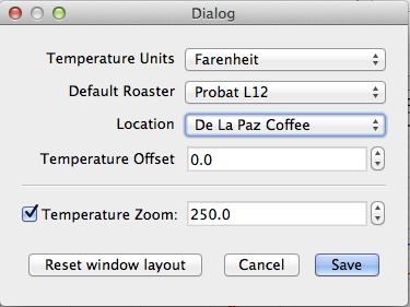 Temperature zoom/roast profile translation settings in RoastLogger