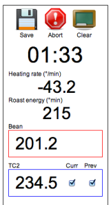 Real-time roast energy display